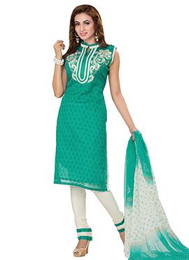 Turquoise Hand Block Print Straight Suit