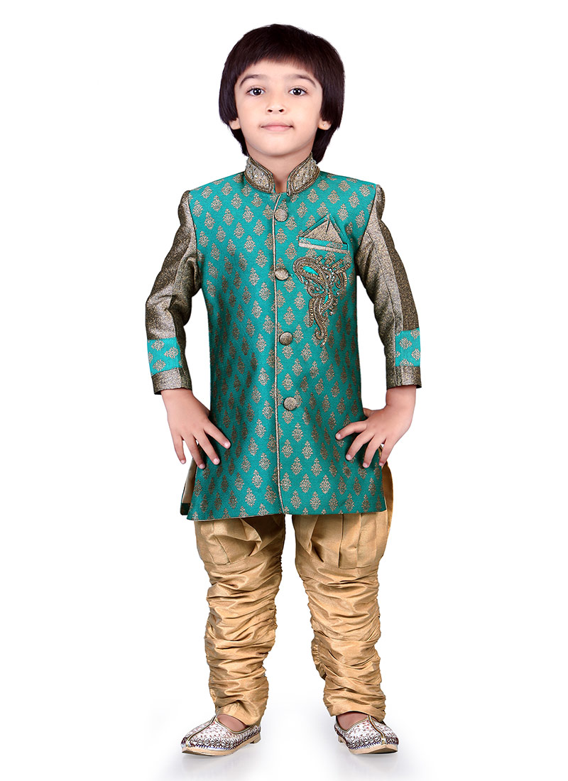 Buy Turquoise Jacquard Kids Sherwani, Jacquard , Embroidered ...