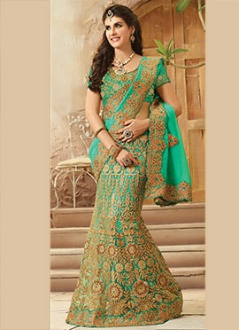 Turquoise Green Lehenga Saree