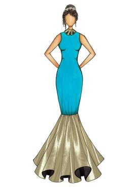 Turquoise Mermaid Gown with Light Beige Bottom Flare