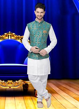 Turquoise N Beige Art Silk Brocade Nehru Jacket