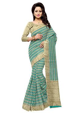 Turquoise N Beige Art Silk Saree