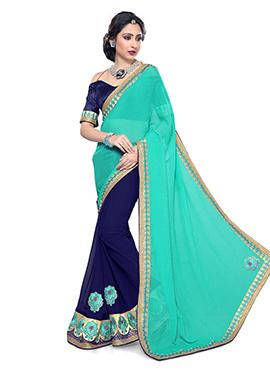 Turquoise N Blue Half N Half Saree