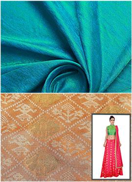 Turquoise N Cream Circular Skirt N Crop Top