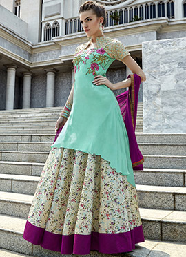 Turquoise N Cream Long Choli Lehenga
