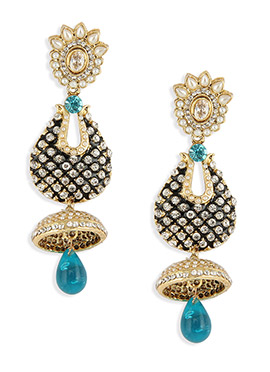 Turquoise N Gold Stones Enhanced Dangling Jhumka