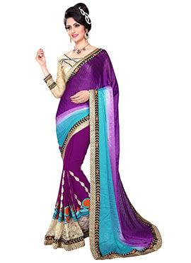 Turquoise N Purple Half N Half Saree