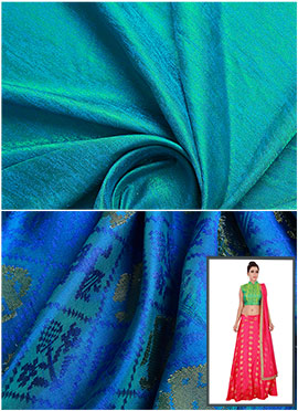 Turquoise N Royal Blue Circular Skirt N Crop Top