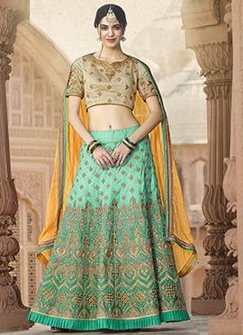 Turquoise N Sea Green Art Silk A Line Lehenga