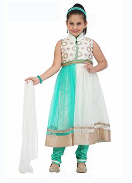 Turquoise N White Kids Anarkali