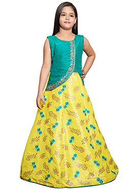 Turquoise N Yellow Embroidered Kids Anarkali Gown