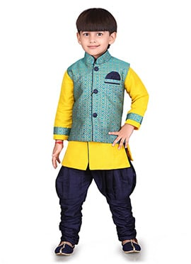 Turquoise N Yellow Jacquard Kids Bandi Set