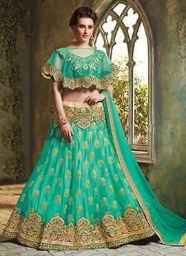 Turquoise Net A Line Lehenga