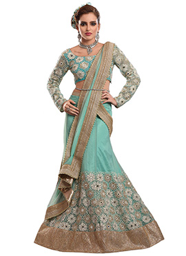 Turquoise Net Embroidered A Line Lehenga Choli