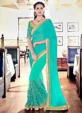 Turquoise Net N Satin Chiffon Saree
