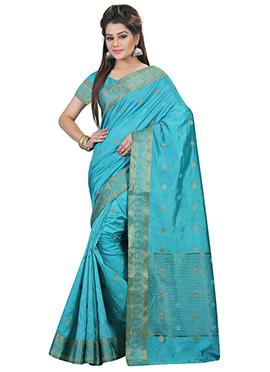 Turquoise Nylon Art Silk Saree