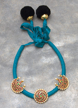 Turquoise Polki N Pearls Studded Necklace