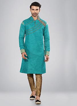 Turquoise Printed Kurta Pyjama Set