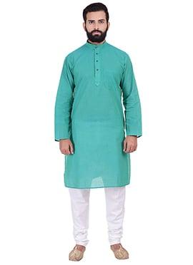 Turquoise Pure Handloom Cotton Kurta Pyjama