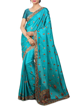 Turquoise Blue Pure Silk Saree