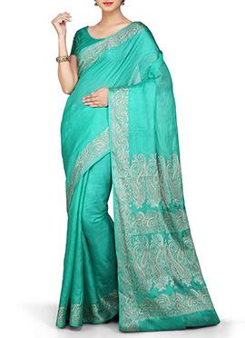 Turquoise Pure Silk Saree