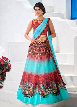 Turquoise Satin Silk A Line Lehenga