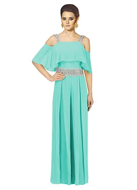 Turquoise Sequins Work Gown