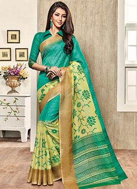 Turquoise Super Net Saree