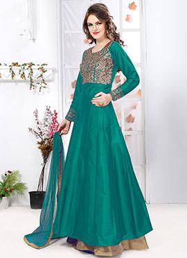 Turquoise Tafeta Silk Anarkali Suit