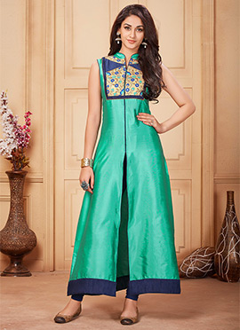 Turquoise Taffeta Front Cut Gown