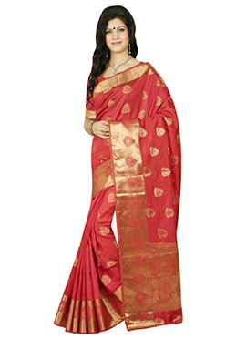 Tussar Silk Coral Red Zari Weaved Saree