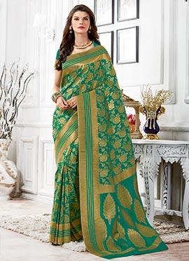 Tussar Silk Green Zari Weaved Saree