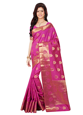Tussar Silk Magenta Zari Weaved Saree