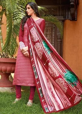 Tussar Silk Printed Straight Pant Suit