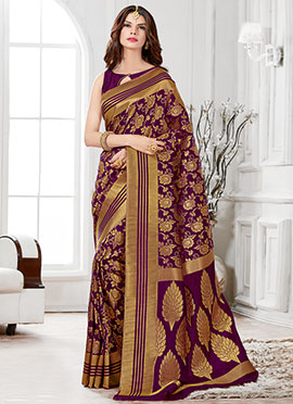 Tussar Silk Purple Zari Weaved Saree