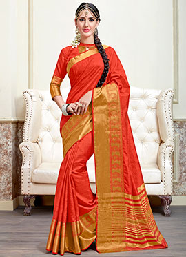 Tussar Silk Red Saree