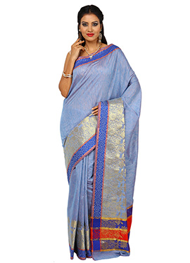 Tussar Silk Steel Blue Zari Weaved Border Saree