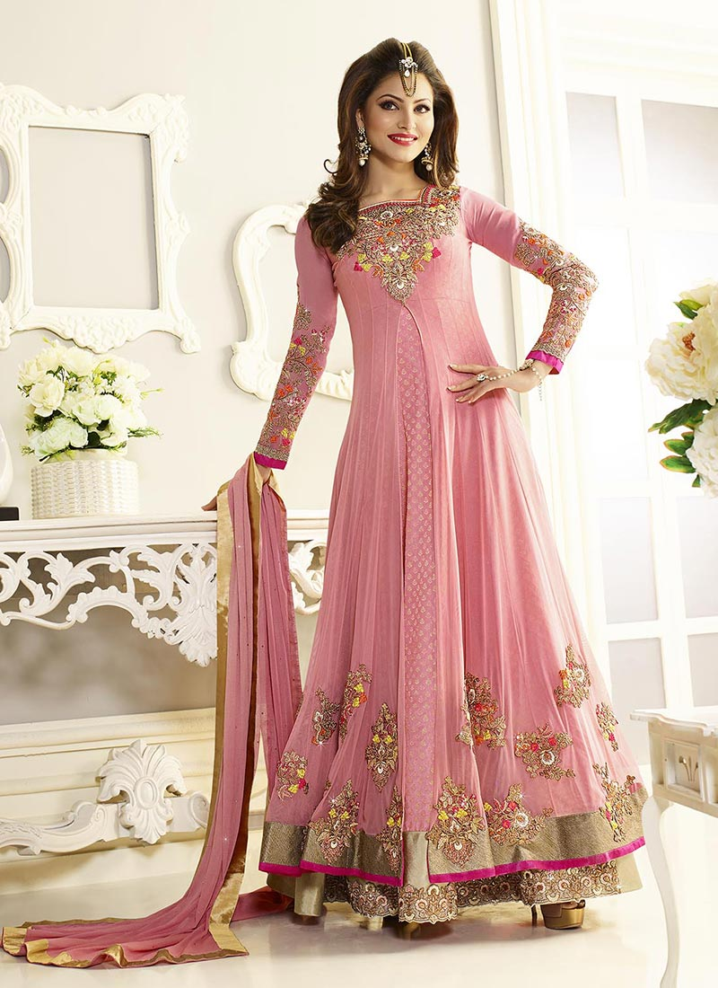 Buy Urvashi Rautela Pink Floor Length Anarkali Suit