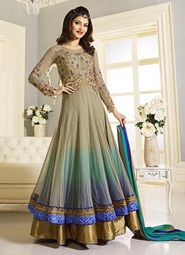 Urvashi Rautela Sage Green Floor Length Anarkali Suit