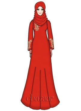 Valiant Poppy Georgette Embroidered Abaya