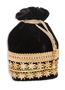 Velvet Black Potli Bag