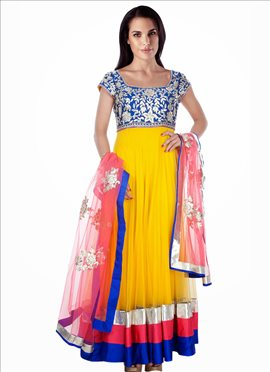 Vibrant Yellow Net Ankle Length Anarkali