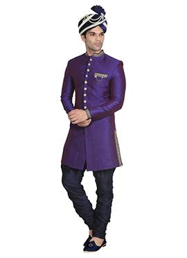 Violet Art Dupion Silk Indowestern Sherwani