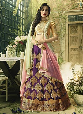 Violet Art Silk A Line Lehenga