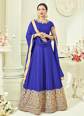 Gauhar Khan Violet Abaya Style Anarkali Suit