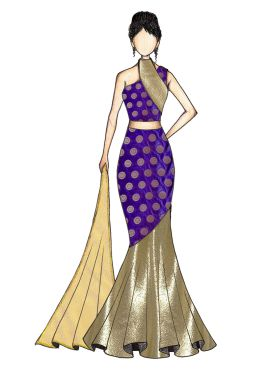 Violet Art Silk and Gold Shimmer Georgette Fish Cut Lehenga with Gold Net Dupatta
