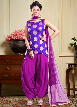Violet Art Silk Asymmetrical Patiyala Suit