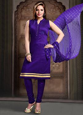 Violet Art Silk Churidar Suit