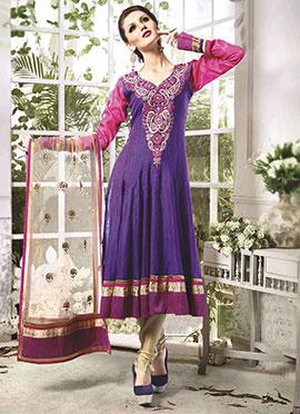 Violet Art Silk Cotton Anarkali Suit