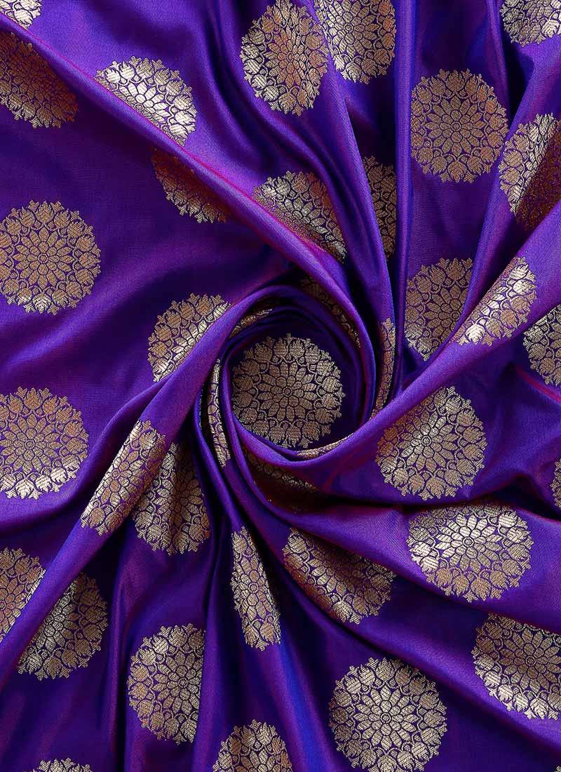 Buy Violet Art Silk Fabric Zari Blended Patterned Online